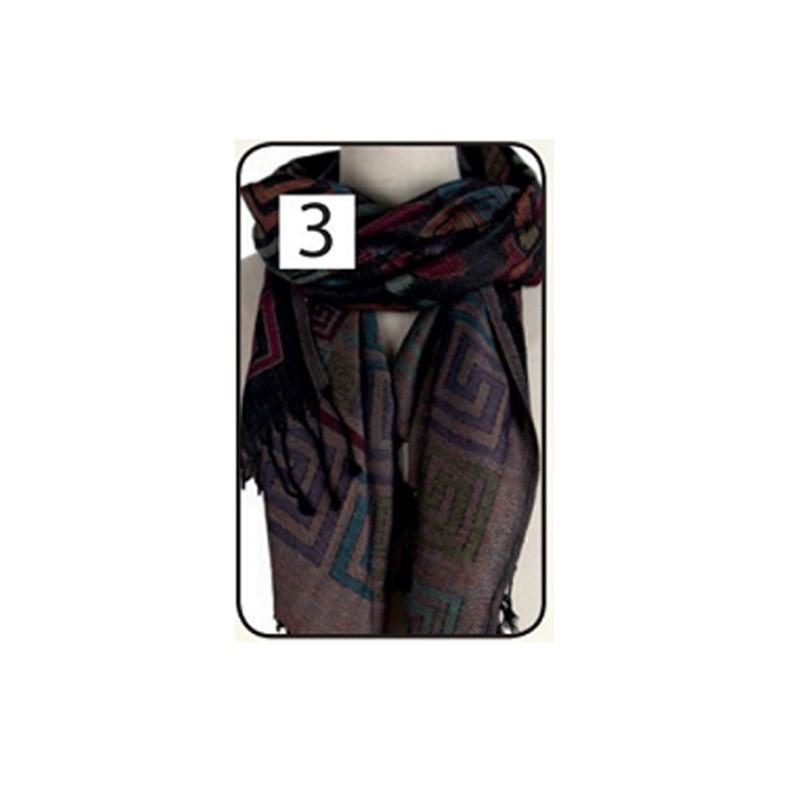 11.9 - Γυναικεία Πασμίνα με Γεωμετρικά Σχέδια Χρώματος Μαύρο