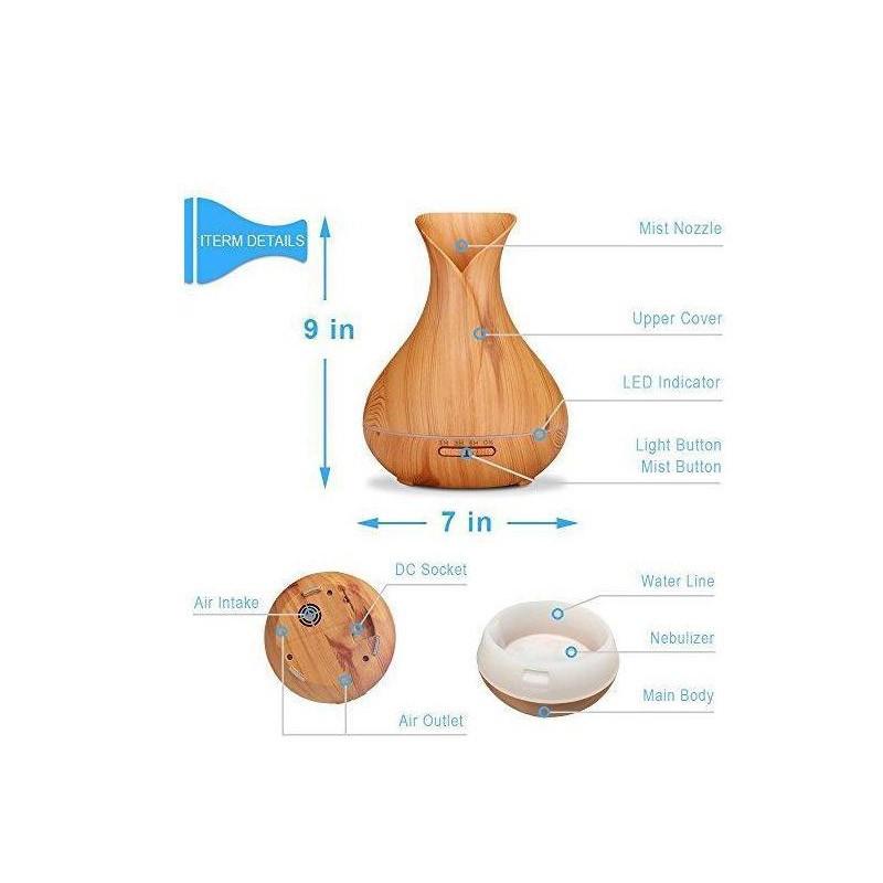 Ξύλινο Αποσμητικό Χώρου Aroma Diffuser 550 ml OEM