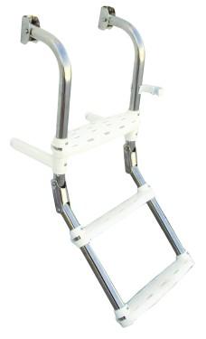 77.57 - Σκάλα Inox Αναδιπλούμενη Με 4 Σκαλοπάτια