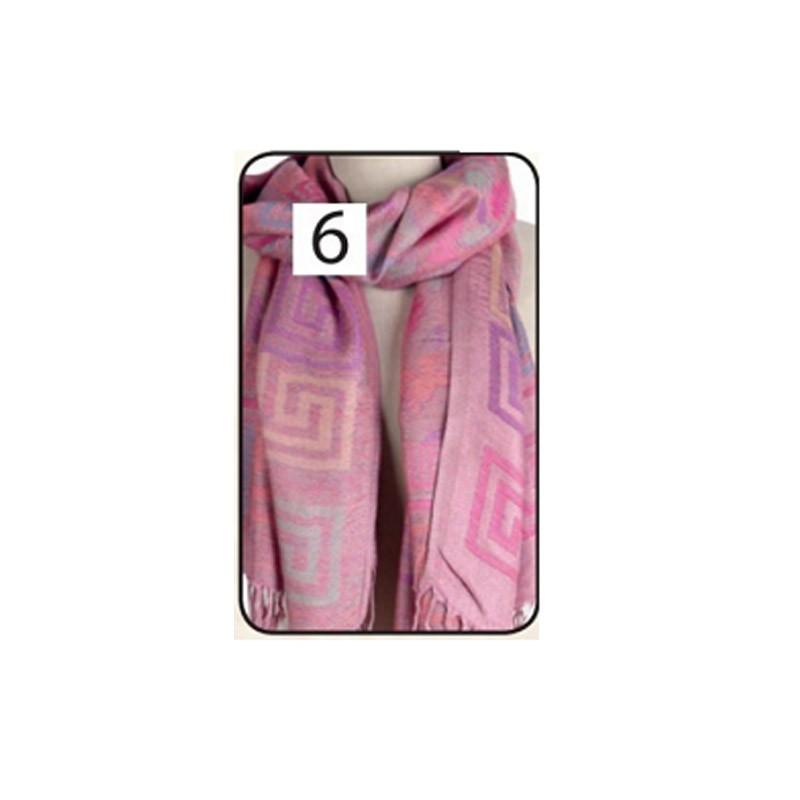 11.9 - Γυναικεία Πασμίνα με Γεωμετρικά Σχέδια Χρώματος Ροζ