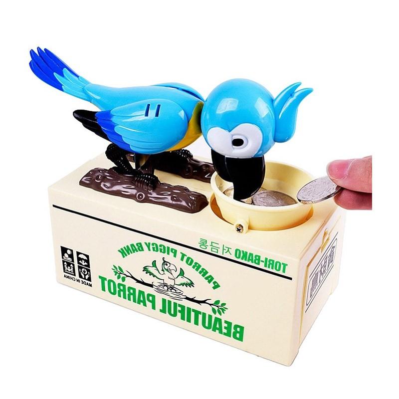 13.9 - Παιδικός Κουμπαράς Πεινασμένος Παπαγάλος Χρώματος Μπλε
