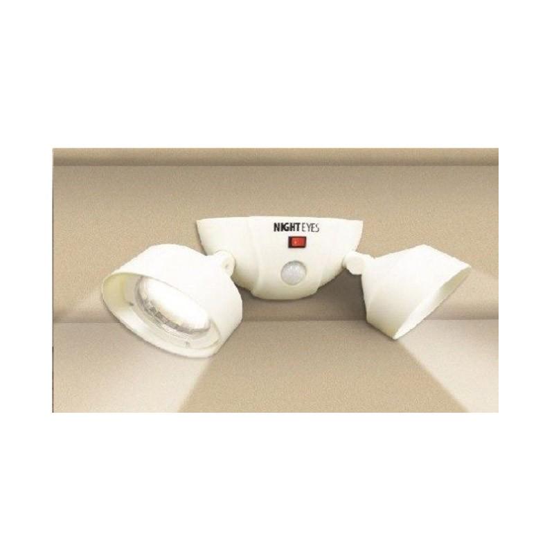 16.5 - Ασύρματο Διπλό Φωτιστικό LED με Ανιχνευτή Κίνησης  Χρώματος Άσπρο Night Eyes