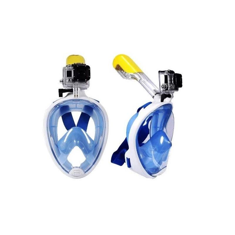 34.9 - Ολοπρόσωπη Μάσκα με Αναπνευστήρα και Βάση για Action Κάμερα Χρώματος Μπλε