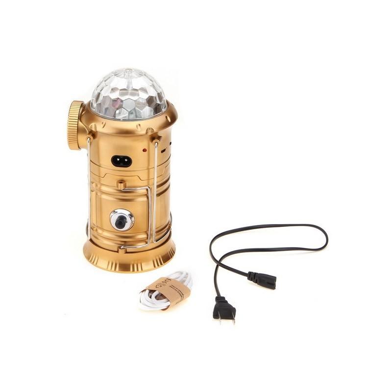 19.9 - Πτυσσόμενο Επαναφορτιζόμενο Φανάρι με Ηχείο Bluetooth και Power Bank Χρώματος Χρυσό