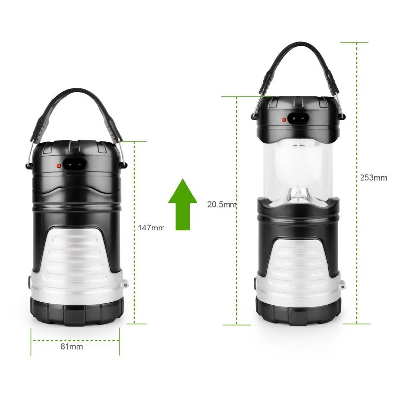 14.9 - Ηλιακό Πτυσσόμενο Επαναφορτιζόμενο Φανάρι LED με USB