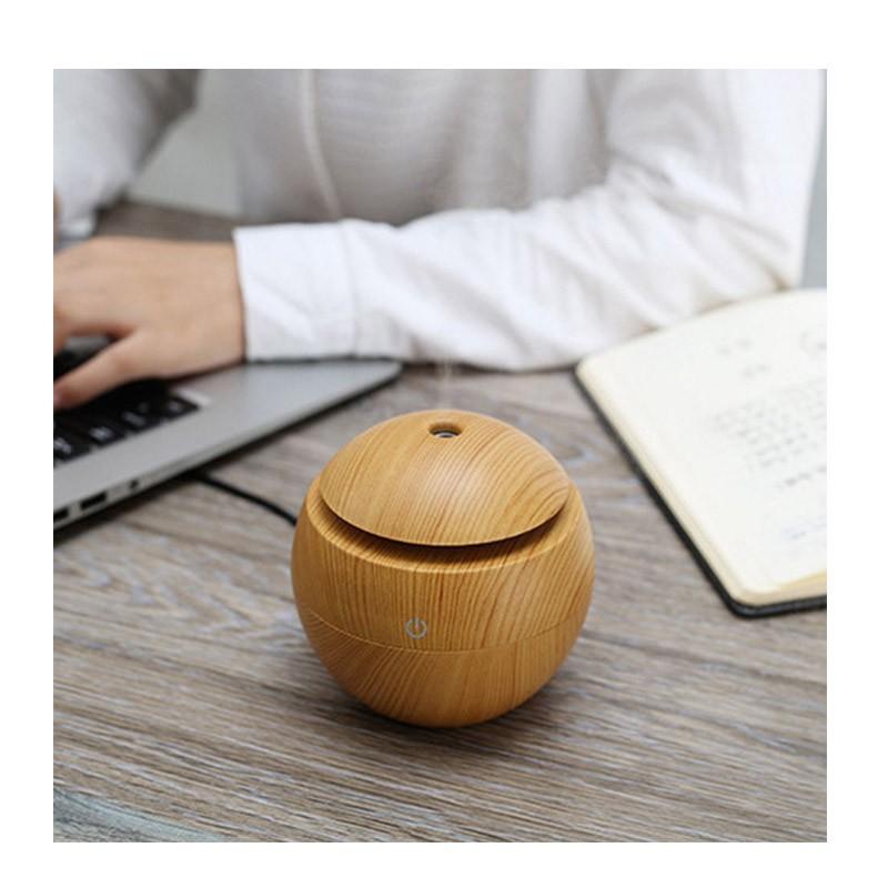 Ξύλινο Στρογγυλό Αποσμητικό Χώρου Χρώματος Μπεζ Ultrasonic Aroma Humidifier OEM