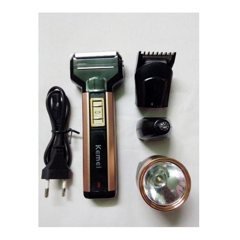 Επαναφορτιζόμενη Ηλεκτρική Ξυριστική - Κουρευτική Μηχανή με Φακό 4 σε 1