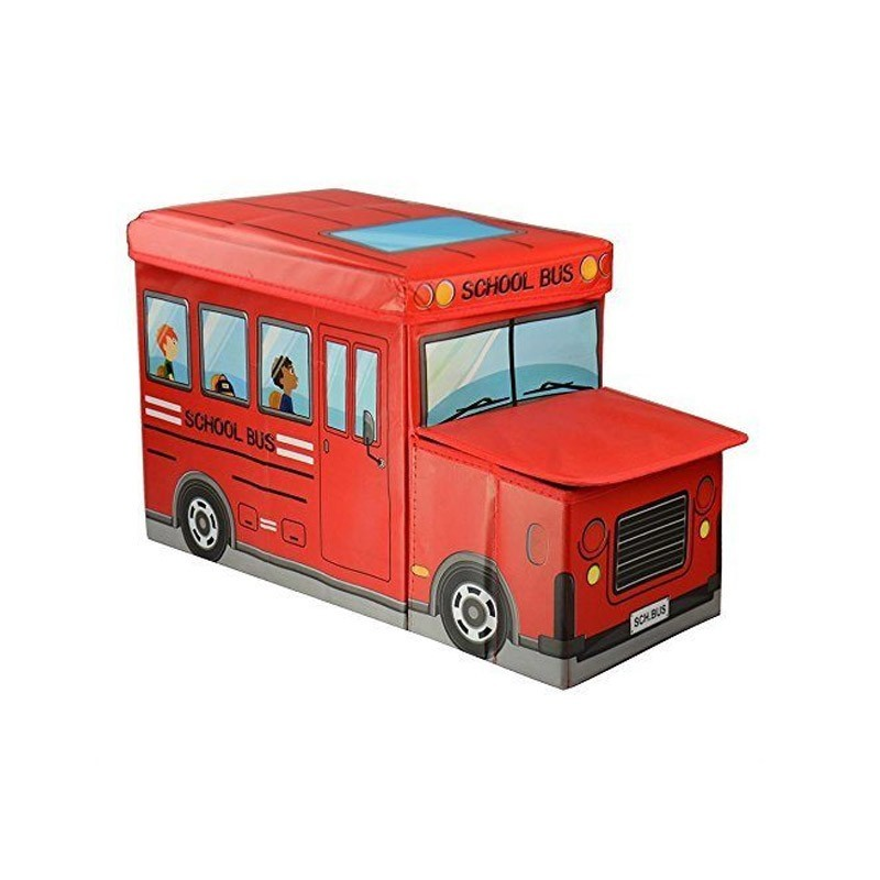 Παιδικό Κάθισμα και Κουτί Αποθήκευσης Λεωφορείο Χρώματος Κόκκινο
