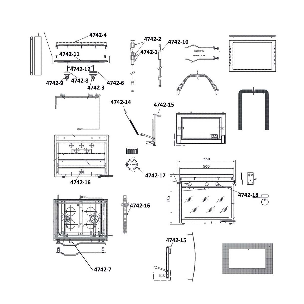 12.45 - Μαύρο Πλαστικό Κουμπί Εστίας 35x13 - Ανταλλακτικό Κουζίνας