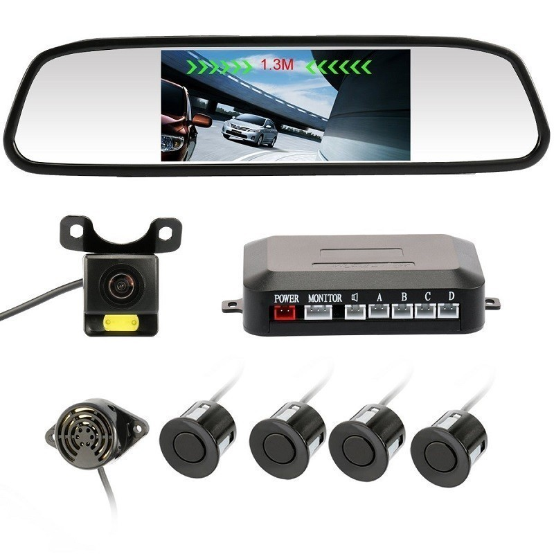"""64.9 - Σετ Αισθητήρες Παρκαρίσματος,Καθρέφτης με Οθόνη LCD 4,3""""και Κάμερα Οπισθοπορείας LED"""