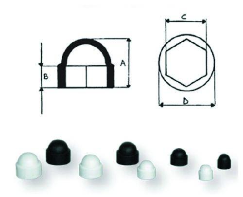 6.8 - Κάλυμμα Παξιμαδιών 19,5mm Χρώματος Μαύρου - Σετ Των 20 Τεμαχίων