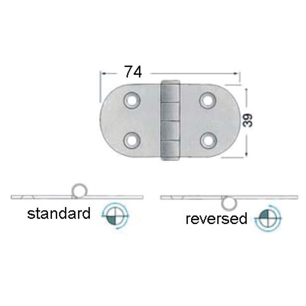 11.52 - Ανοξείδωτοι Μεντεσέδες L74xW39xT2mm - Σετ Των 2 Τεμαχίων
