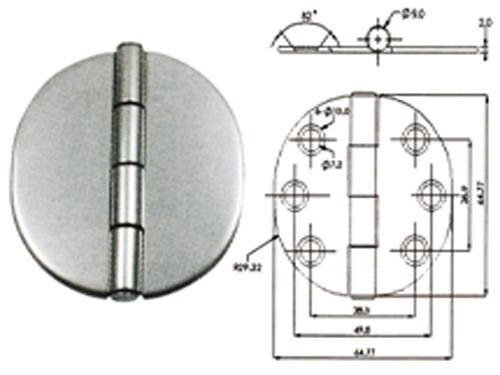 10.98 - Μεντεσές Inox Στρογγυλός Με Καπάκι Διαμέτρου 64,77 mm