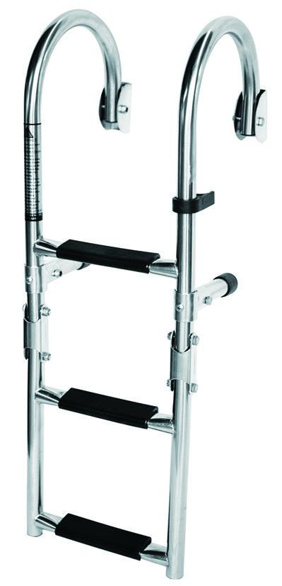 79.1 - Σκάλα Inox Αναδιπλούμενη Καθρέπτου Κουπαστής Με 4 Σκαλοπάτια