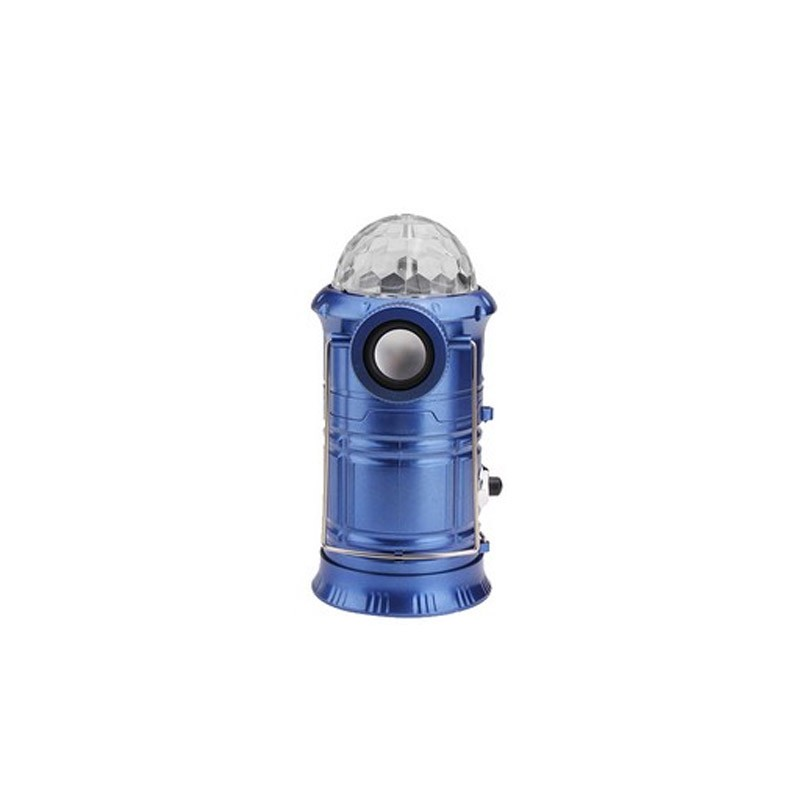 Πτυσσόμενο Επαναφορτιζόμενο Φανάρι με Ηχείο Bluetooth και Power Bank Χρώματος Μπλε
