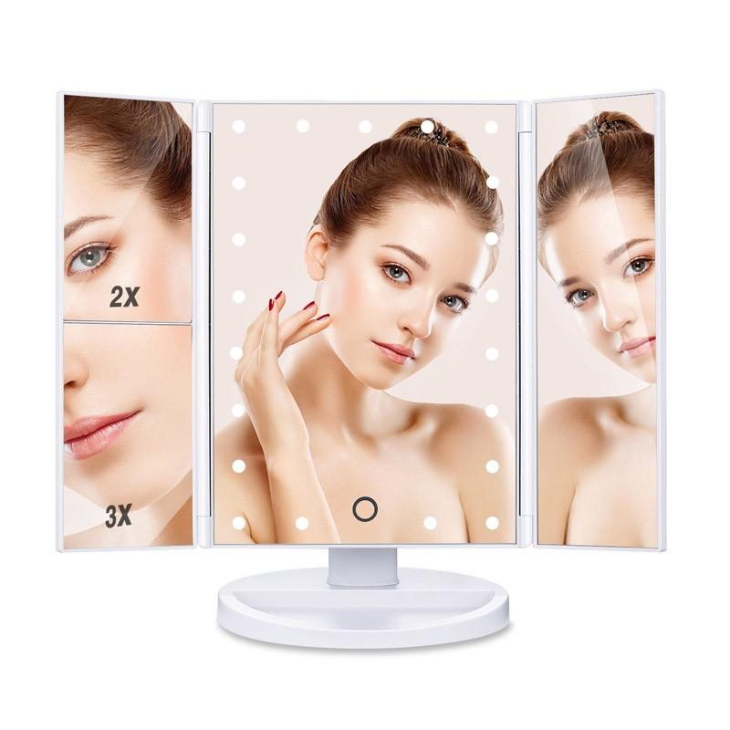 Τριπλός Μεγεθυντικός Καθρέφτης με Φωτισμό 22 LED