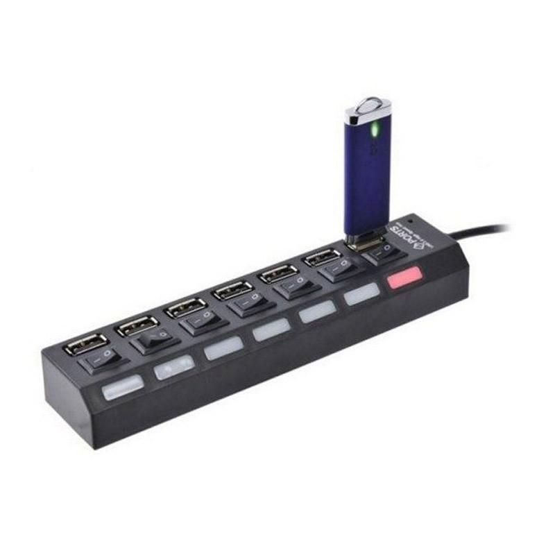 USB Hub 7 Θέσεων με Διακόπτες ON/OFF και Φωτισμό Led