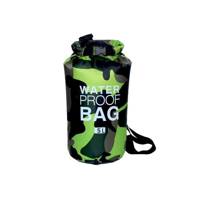 Αδιάβροχος Ισοθερμικός Σάκος 5 Lt σε Σχέδιο Παραλλαγής Χρώματος Πράσινο