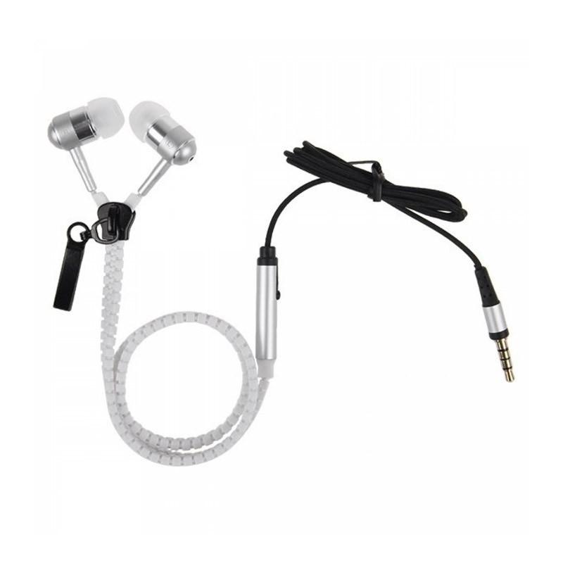 Ακουστικά με Μικρόφωνο Χρώματος Άσπρο Zipper