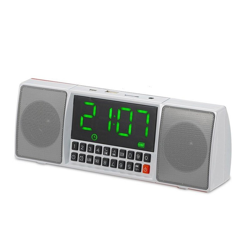 Ηχείο Bluetooth με Ρολόι Ξυπνητήρι και Hands-Free Χρώματος Άσπρο