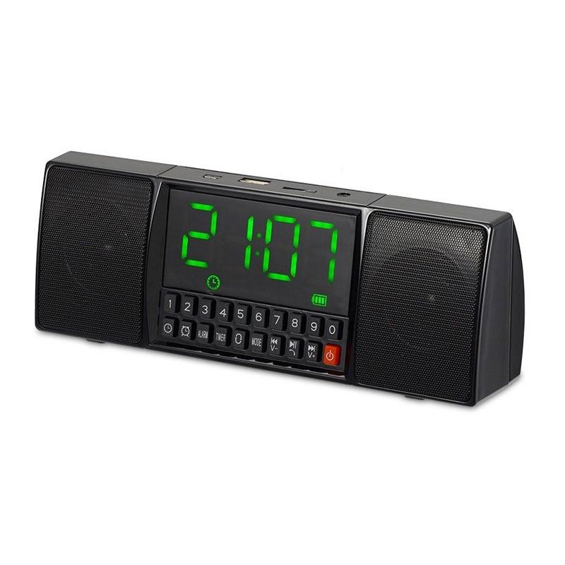 Ηχείο Bluetooth με Ρολόι Ξυπνητήρι και Hands-Free Χρώματος Μαύρο