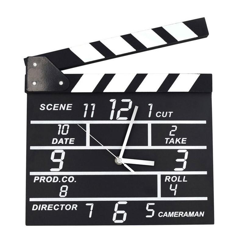 Ξύλινο Ρολόι Τοίχου σε Σχέδιο Κλακέτα Σκηνοθέτη