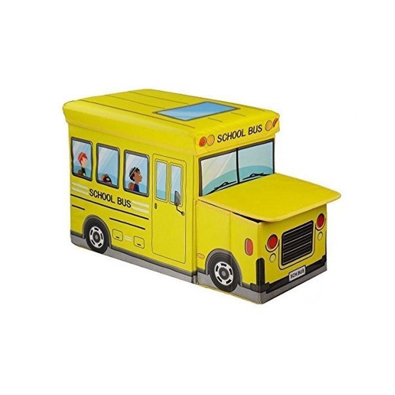 Παιδικό Κάθισμα και Κουτί Αποθήκευσης Λεωφορείο Χρώματος Κίτρινο