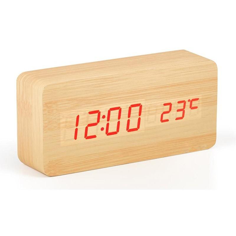 Ξύλινο Επιτραπέζιο Ρολόι - Ξυπνητήρι με Αισθητήρα Χρώματος Μπεζ Μικρό