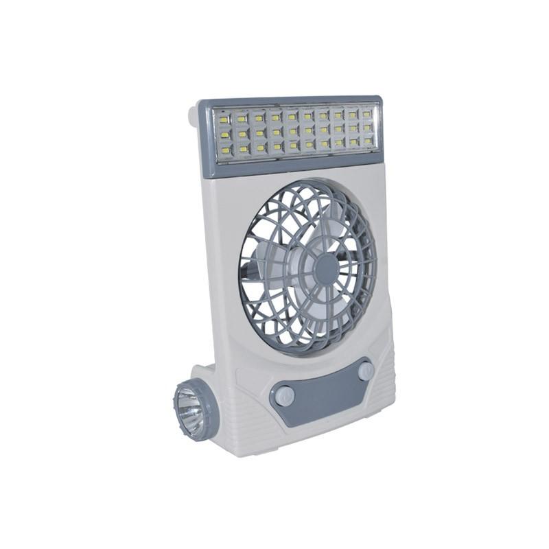 Ηλιακός Φορητός Επαναφορτιζόμενος Ανεμιστήρας με Φακό και Φωτιστικό LED