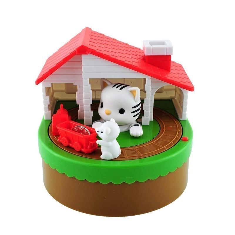 Παιδικός Κουμπαράς Γάτα και Ποντικάκι