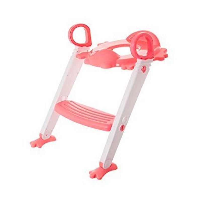 Παιδικό Κάθισμα Τουαλέτας με Σκαλοπάτι Χρώματος Ροζ