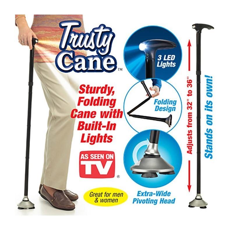 Σπαστό Μπαστούνι με Φως LED και Περιστρεφόμενη Βάση - Trusty Cane