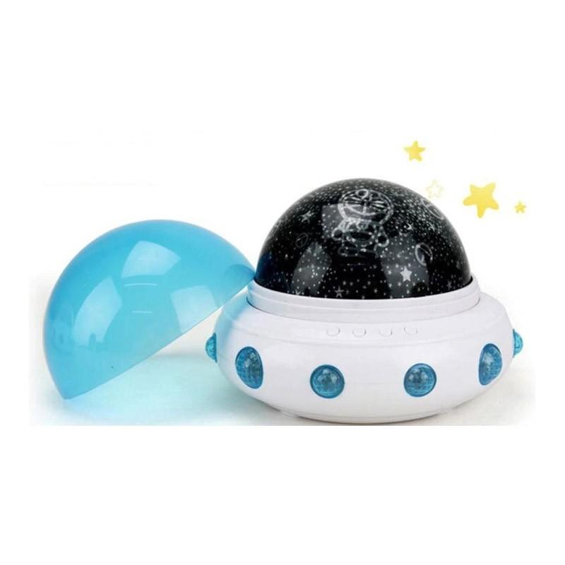 Περιστρεφόμενο Φωτιστικό - Προτζέκτορας Δωματίου UFO Χρώματος Μπλε