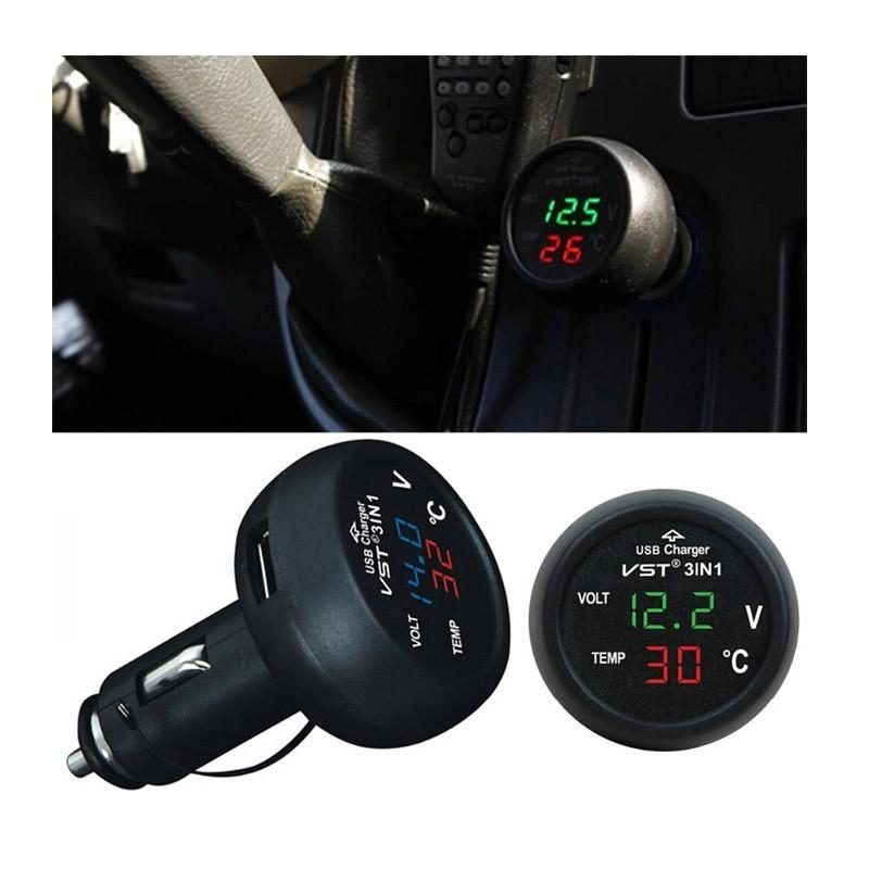 Βολτόμετρο Θερμόμετρο Αυτοκινήτου και Ταχυφορτιστής USB