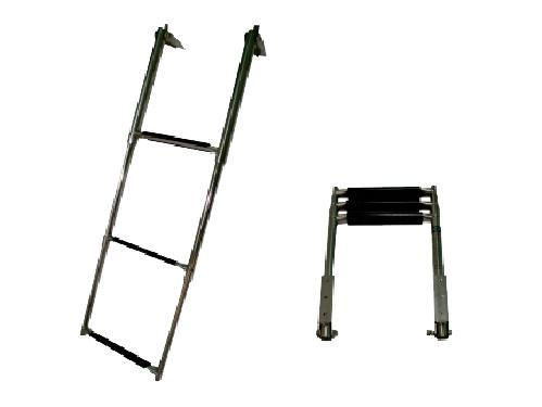 130.13 - Σκάλα Inox Πτυσσόμενη Πλατφόρμας Με 4 Σκαλοπάτια Μήκους 115,5cm