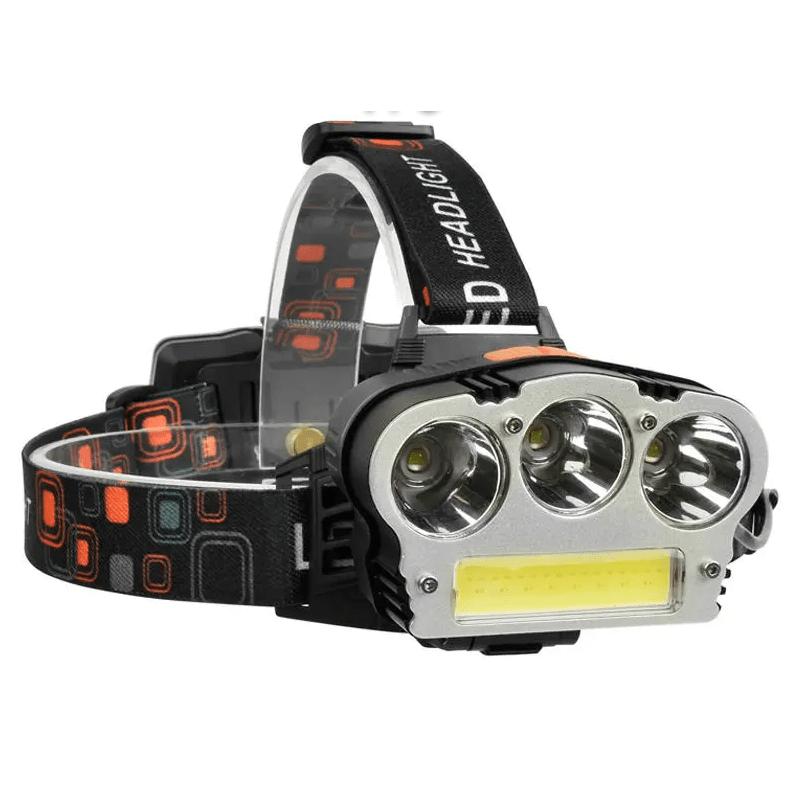18.9 - Επαναφορτιζόμενος Φακός Κεφαλής με 3xΤ6 LED + 1xCOB