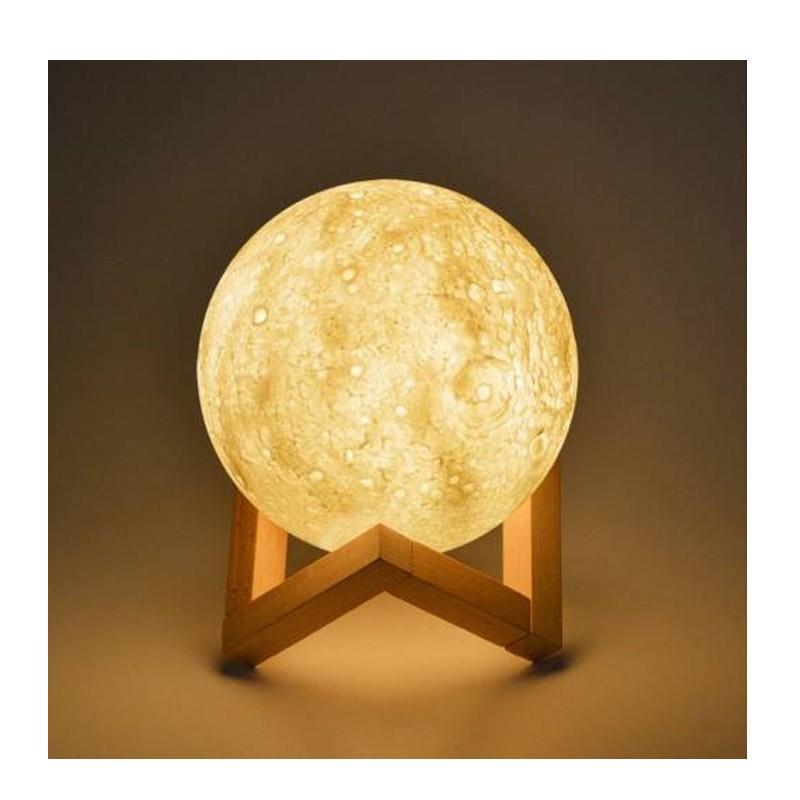 Επαναφορτιζόμενη Ασύρματη Λάμπα 3D σε Σχήμα Σελήνης