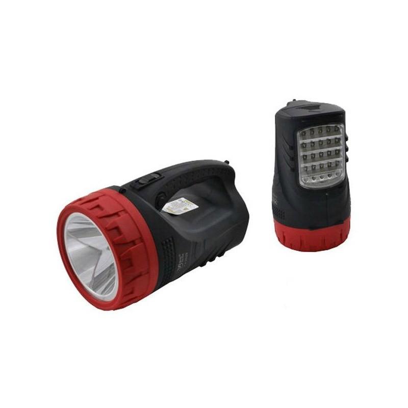 Επαναφορτιζόμενος Φακός Διπλής Λειτουργίας με 25 LED και Προβολέα 5W