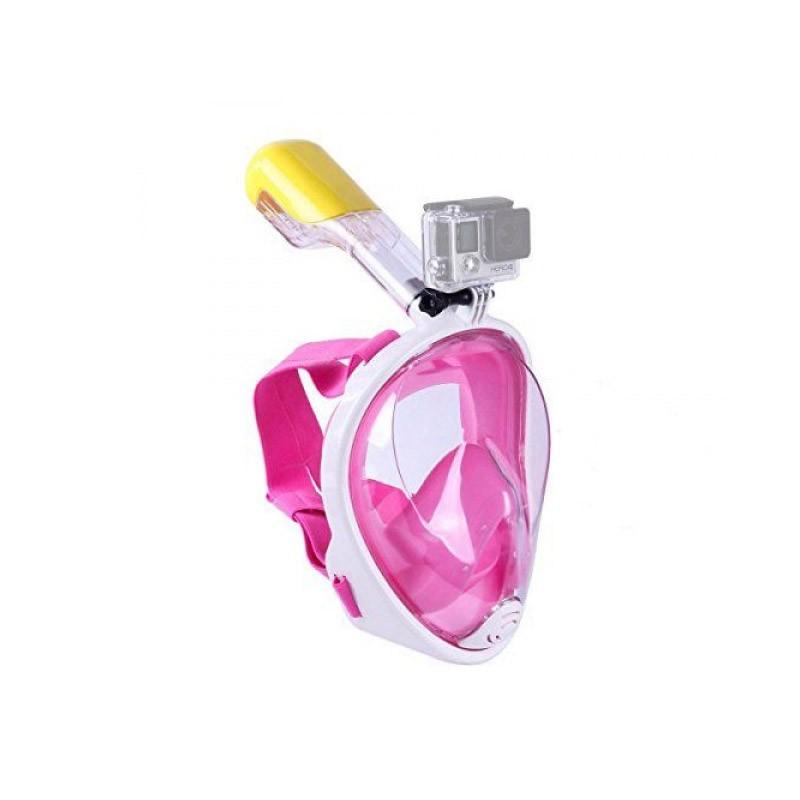 Ολοπρόσωπη Μάσκα με Αναπνευστήρα και Βάση για Action Κάμερα Χρώματος Ροζ