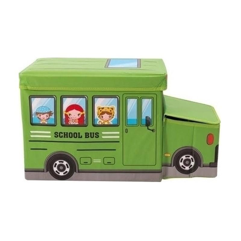 Παιδικό Κάθισμα και Κουτί Αποθήκευσης Λεωφορείο Χρώματος Πράσινο