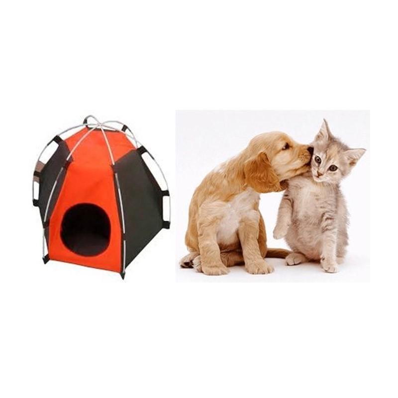 Σπιτάκι - Σκηνή Igloo για Κατοικίδια Ζώα Χρώματος Καφέ – Πορτοκαλί