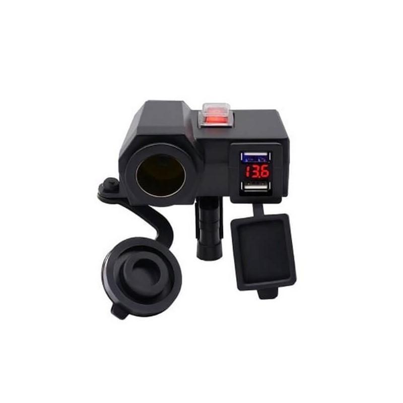 24.9 - Αδιάβροχος Φορτιστής με 2x USB, Αναπτήρα 12V & Βολτόμετρο Μοτοσυκλέτας
