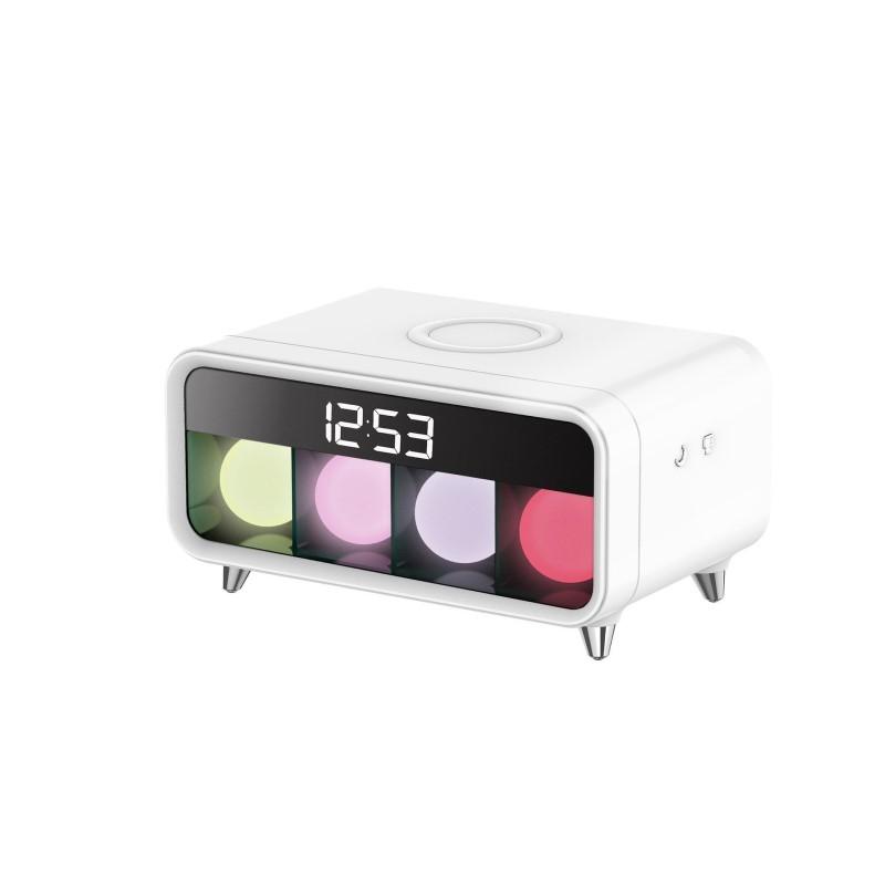 59.9 - Επιτραπέζιο Ψηφιακό Ρολόι με Ασύρματη Φόρτιση για Κινητά, Ξυπνητήρι και Χρωματιστό Φωτισμό