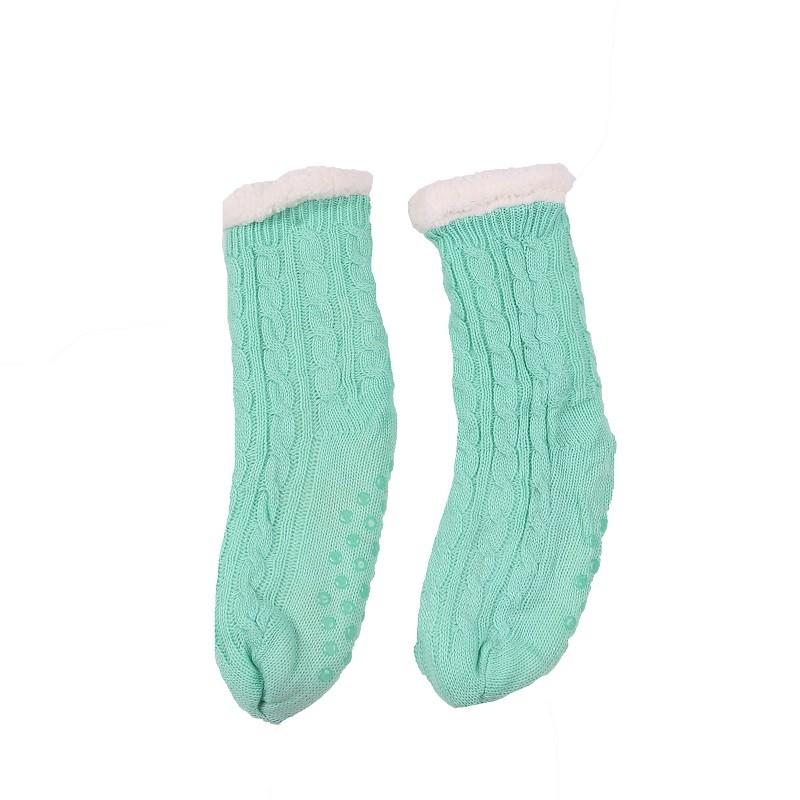 9.9 - Πλεκτές Καλτσοπαντόφλες με Γούνινη Επένδυση -Χρώμα Πράσινο Ανοιχτό