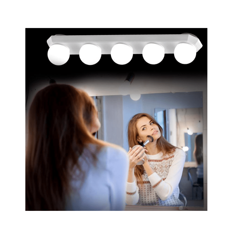 22.9 - USB Φωτιστικό Μπάρα με 5 LED και Βεντούζες για Καθρέπτη Μακιγιάζ
