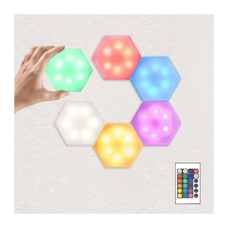 22.9 - Εξαγωνικό Επιτοίχιο Φωτιστικό LED Αφής 6 Τεμαχίων με Τηλεχειριστήριο