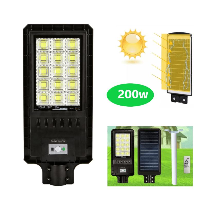 89.9 - Αυτόνομο Ηλιακό Σύστημα Εξωτερικού Φωτισμού LED 200w με Τηλεχειριστήριο GD-98200