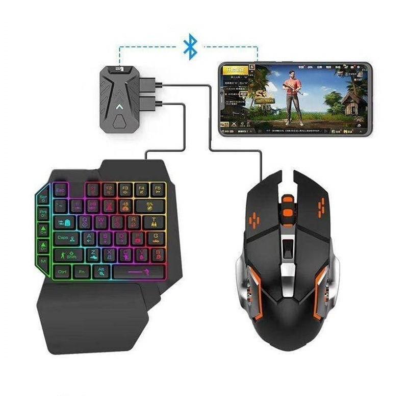59.9 - Σετ Gaming Κινητού με Πληκτρολόγιο και Ποντίκι Bluetooth RGB LED, Φορτιστής USB και Βάση Στερέωσης