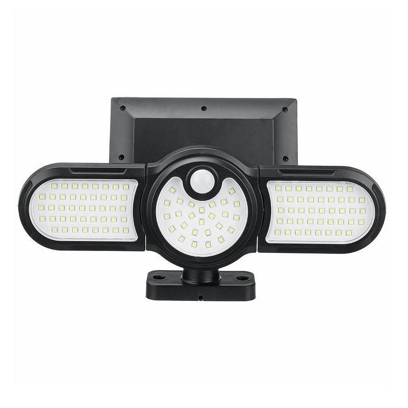 29.9 - Τριπλό Ρυθμιζόμενο Ηλιακό Φωτιστικό Εξωτερικού Χώρου 112 LED με Αισθητήρα Κίνησης