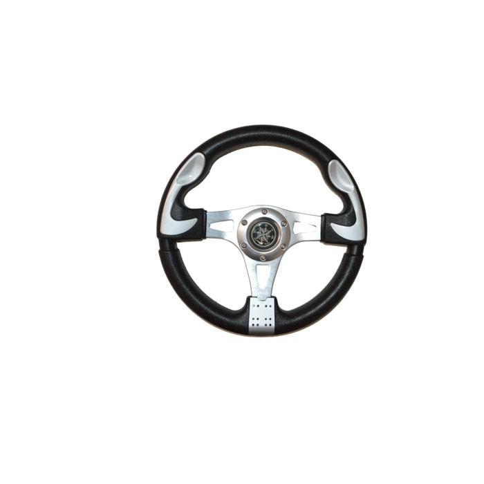 38.72 - Τιμόνι Από Μαλακή Πολυουρεθάνη Και Ανοδιώμενο Αλουμίνιο Χρώμα Ασημί Και Μαύρο Ø330mm